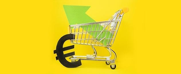 carrello della spesa e simbolo euro su sfondo giallo