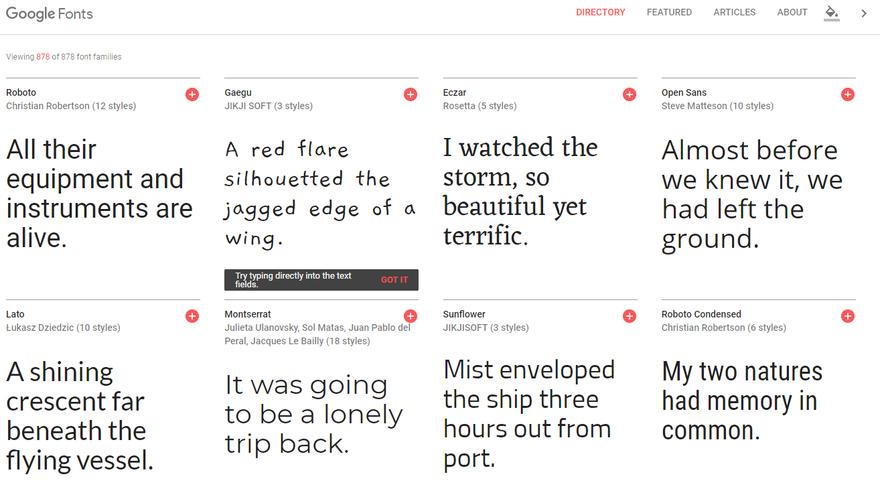 diversi tipi di google fonts