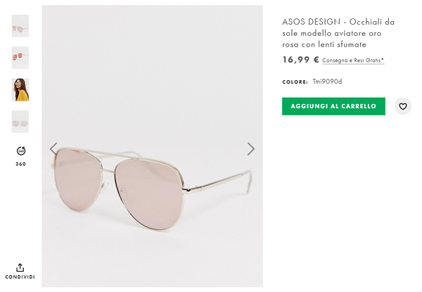 pagina prosotto occhiali da sole asos